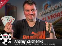 Andrey Zaichenko vince il 2016 WSOP $1.500 Triple Draw Lowball (Limit)