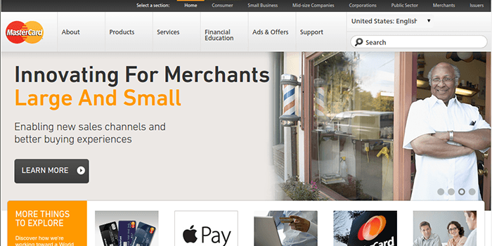Screenshot of MasterCard Home page