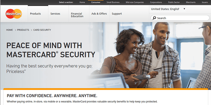 Screenshot of MasterCard Security page