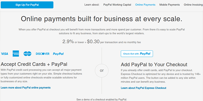 Screenshot of PayPal Fees and Taxes Page