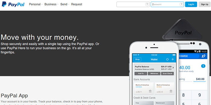 Screenshot of PayPal Mobile Application Page