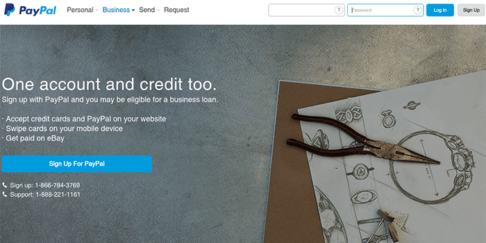 Screenshot of PayPal Business Account Page