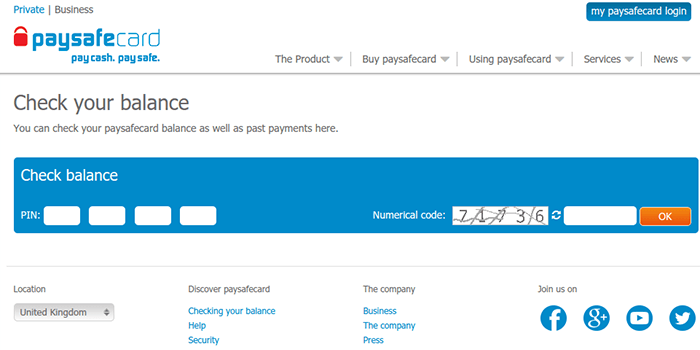 Screenshot of PaySafeCard check balance page