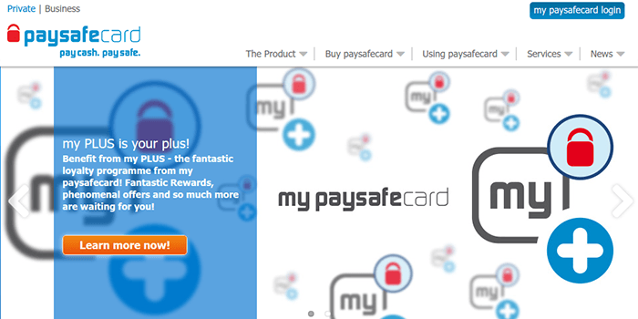 Screenshot of My PaySafeCard information page