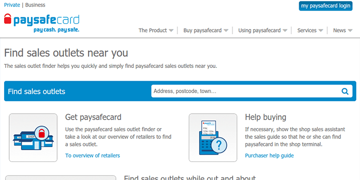 Screenshot of PaySafeCard  purchase information page