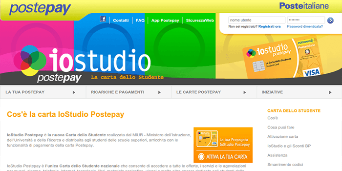 Screenshot of PostePay Card Information Page