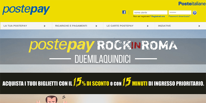 Screenshot of PostePay home page