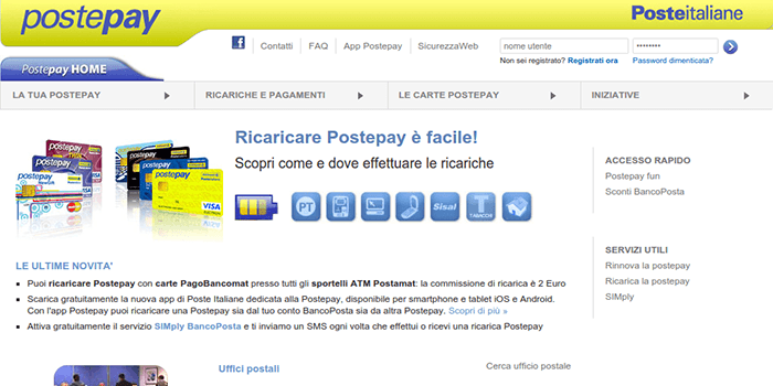 Screenshot of PostePay Recharge Page