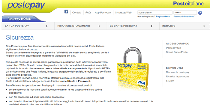 Screenshot of PostePay Security Page