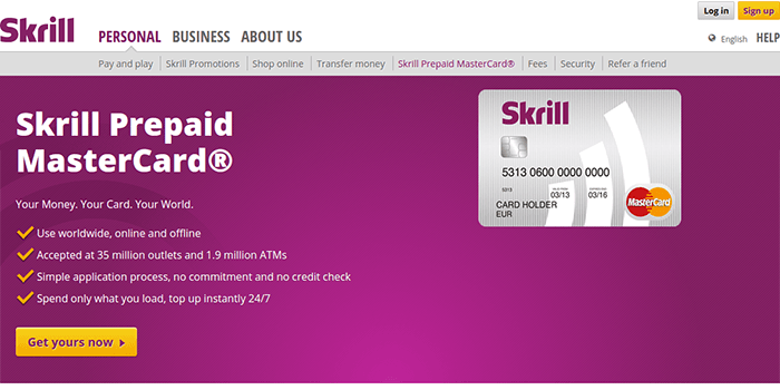 Screenshot of Skrill Prepaid Card information and conditions.