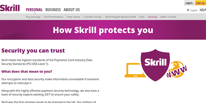 Screenshot of Skrill Security Information Page