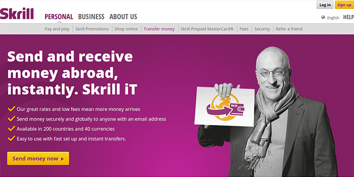 Screenshot of Skrill Money Transfer Page and Conditions