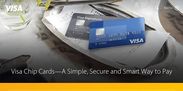 Screenshot of Visa Home Page